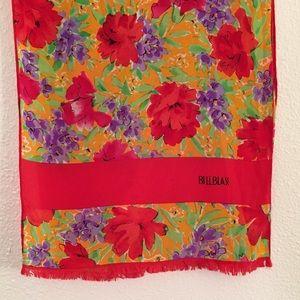Vintage Vibrant Floral Silk Scarf by Bill Blass